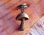 Antiques Brass Mushroom Charm ADD to your DREADS Dreadlock Accessory Extension Accessories Dread Boho Bohemian Hippie Bead