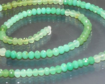 1/2 Strand AA-AAA Minty Green Chrysoprase Micro-Faceted Rondelles Beads 4mm