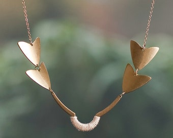 Brass Arrow Necklace with Soft Pink Thread Accent on a 14k Gold Filled Chain