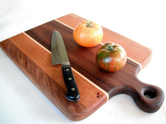 beautiful large handled cutting board reclaimed hardwoods