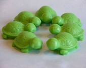 TURTLE SoAPS SET Of 7  - Baby Shower Soap - Children Kids Party Favor Soaps - Green Apple Explosion - Custom Orders Welcome - Hand Made USA