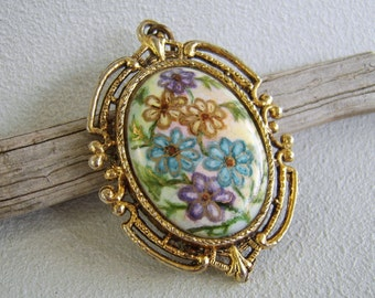 Vintage Painted Porcelain Filigree Pendant Large Flowers