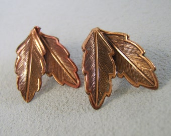 Vintage Solid Copper Leaf Earrings Bell Trading Clip Ons