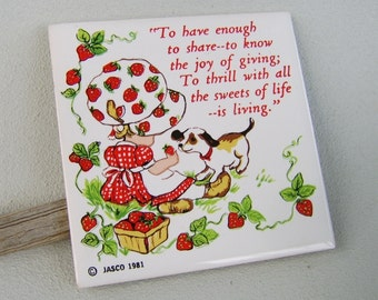 Vintage Jasco Strawberry Patch Ceramic Trivet