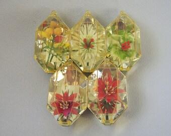 Vintage Ornaments, Jewel Brite, 3D Diorama, Ornament Set, Christmas Ornaments, Tree Ornaments, Holiday Ornaments, Mid Century, Metallic Gold