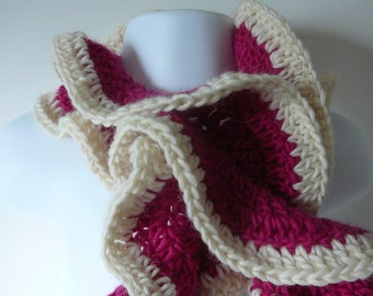 Ladies Ruffled Crocheted Scarf in Pink and Ivory         READY TO SHIP          One Size