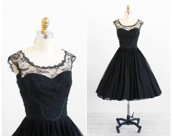 r e s e r v e d - vintage 1950s dress / 50s black dress / Black Silk Chiffon and Chantilly Lace Evening Dress by Harvey Berin