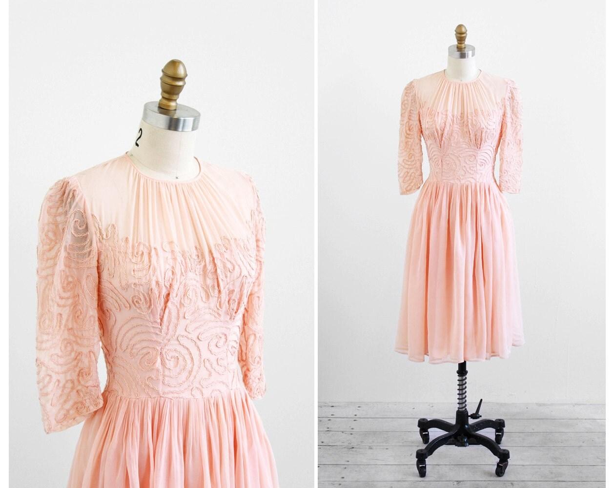 Vintage 1930s Dress / 30s Dress / Pink Peach Ballerina Sheer