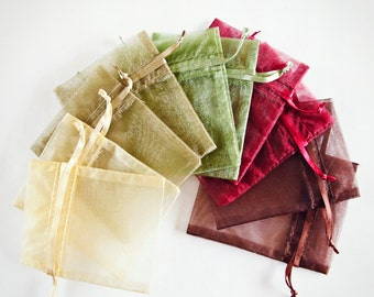 100 Organza Bags, 5x8 inch Ivory, willow, moss green, burgundy, brown organza bags