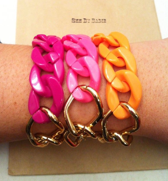 Limited edition: Chunky Chain Bracelet, orange acrylic chunky chain with vintage gold chain