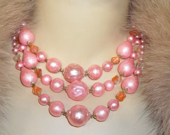 Vintage Pink Bold Beads Beaded 3 Strand Necklace Japan