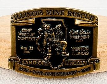 Illinois Mine Rescue 1987 10th Anniversary Vintage Rare Belt Buckle