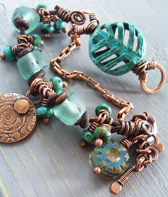 Verdigris Medallion Bracelet in Copper, Turquoise and Chocolate Leather with Recycled Glass and Coin Charm