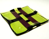 Yellow/Green, Purple and Black Fused Glass Dish