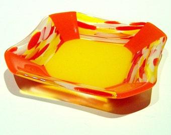 Sunshine Yellow and Orange Fused Glass Bowl