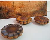 Autumn Flower Magnets Wood Pyrography Painted-Blue-Gold-Red-Rust