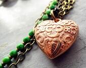 Asymmetrical Green Vintage Beaded Necklace, Heart Pendant, Copper