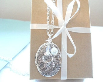 Silver Locket Necklace Gift Under 20 Oval Silver Locket Cherry Flower Blossom Locket Jewelry