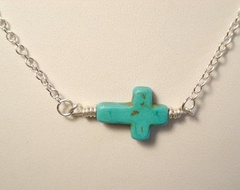 Sideways Cross Necklace Turquoise Cross Necklace, Sideways Cross Statement Necklace Pendant Jewelry