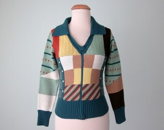 70s sweater / patchwork knit cardigan zipper jacket top (xs - s)