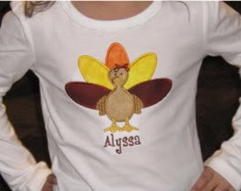 Boutique Custom Personalized Turkey Thanksgiving shirt Girl