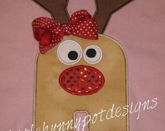 Boutique Custom Personalized Christmas Reindeer Inital Shirt Girls