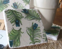 Peacock Feathers Coasters - Absorbent Tile Drink Holders - Set of 4