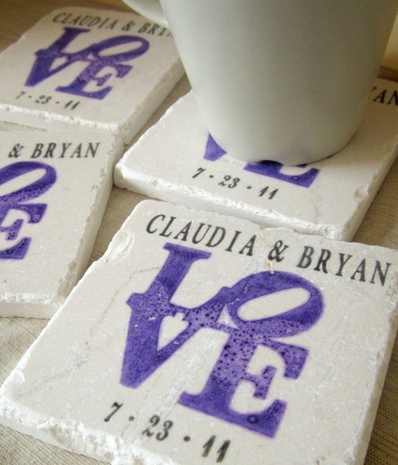 Personalized Purple Love Statue Coasters - Engagement Gift for the Couple - Set of 4