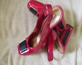 SaSssy  Hot Red and Black Patent Leather Designer Vintage Shoes