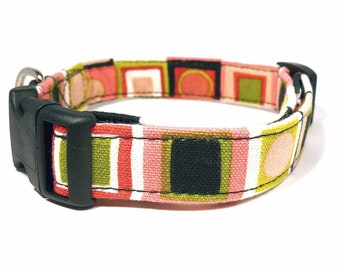 ON SALE - 50% off - Pink dog collar - Dynamic dots and squares adjustable dog collar - 3/4 inch wide - Half price