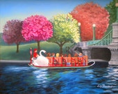 "8"" X 10"" Swan Boat Boston- art Print"