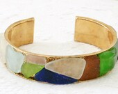 Sea Glass Cuff Bracelet in a Variety Colors