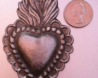 HEART MILAGRO Tin Silver Ex Voto