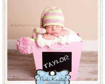 Newborn Pink and Green Striped Elf Hat, 0-3 month Stocking Cap Photo Prop