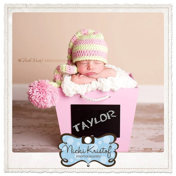 Newborn Pink and Green Striped Baby Girl Elf Hat, 0-3 month Stocking Cap Photo Prop