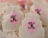 Monogrammed Wedding Cake or Wedding Dress Cookies - 12 Decorated Sugar Cookie Favors