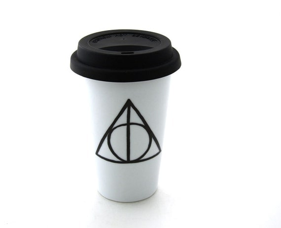 SALE- Harry Potter Deathly Hallows Inspired Travel Mug Double Walled Porcelain