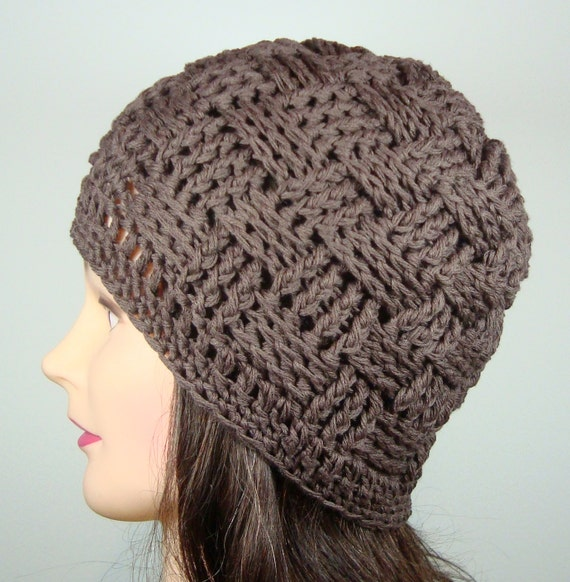 How To Make A Basket Weave Hat : Items similar to chocolate brown basket weave beanie hat