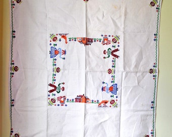 Vintage Home Sweet Home Tablecloth - Hand Embroidered