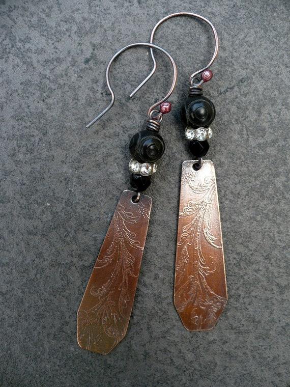 DUSK-handmade etched copper earrings