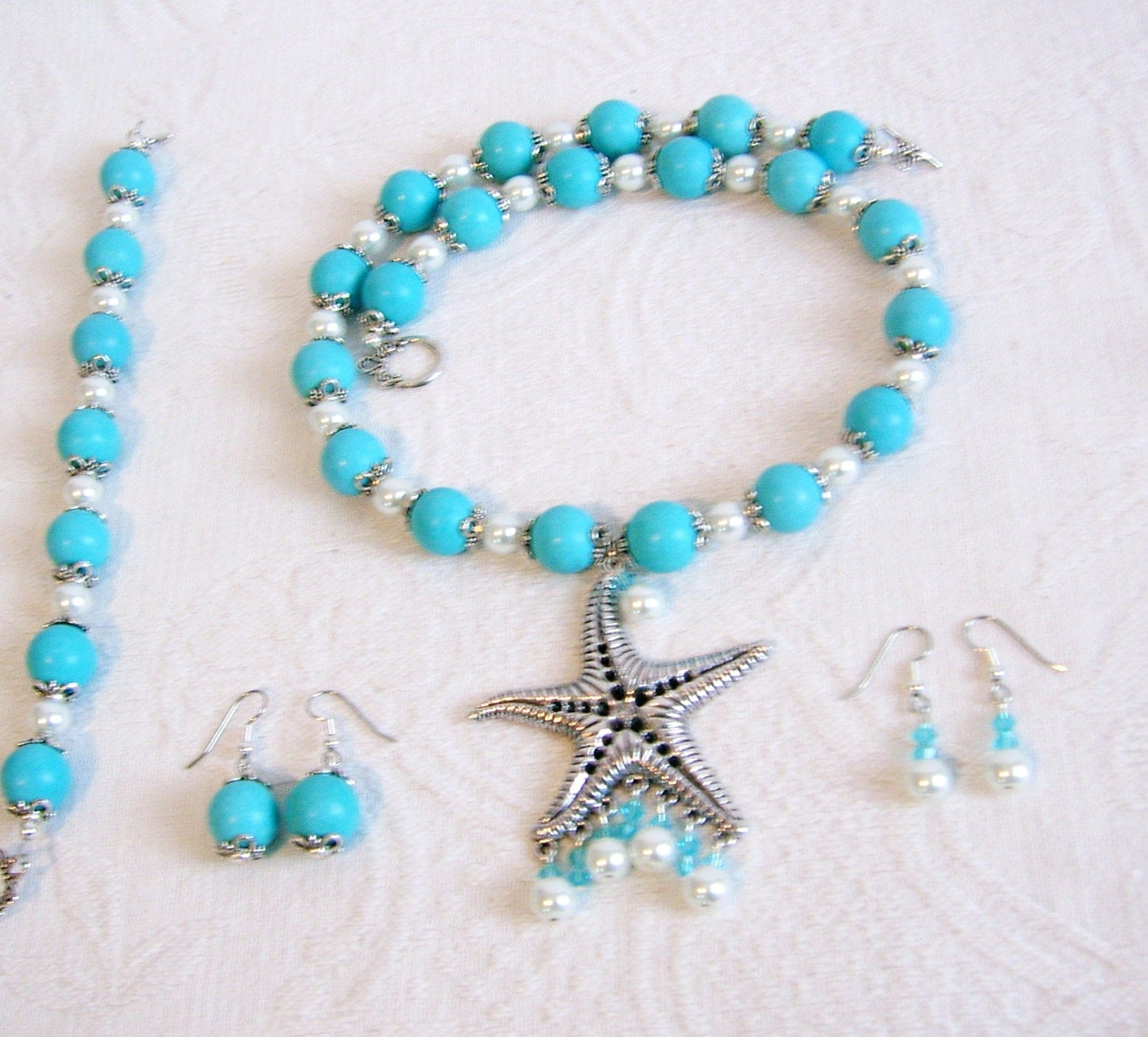 starfish pearl and turquoise necklace bracelet and 2 pair