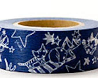 Delfonics Washi Masking Tape - Navy Blue Stars - Wide - Snih