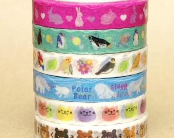 NamiNami Washi Masking Tape - Rabbit, Penguin, Bird, Polar Bear, Cat & Bear Face - Slim