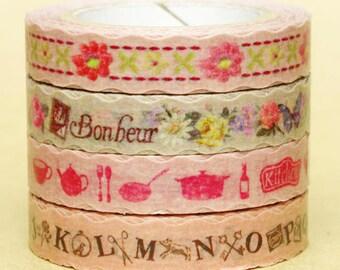 NamiNami Washi Masking Tape - Bavarian Quilt, Vintage Flower & Kitchen, Antique Alphabet - Slim