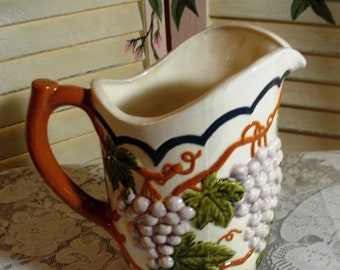 COUNTRY CHARM - TUSCANY - Vintage Ceramic Pottery Pitcher - Grapes and Grape Vines - (Credit Cards Accepted)
