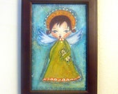 Little Guardian Angel with bear - original mixed media painting, primitive style