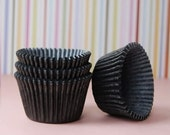 JUMBO Large Solid Black Cupcake Liners (25)