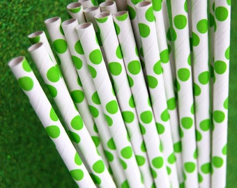 25 Lime Green Polka Dots Paper Straws and PDF Printable Party Flags