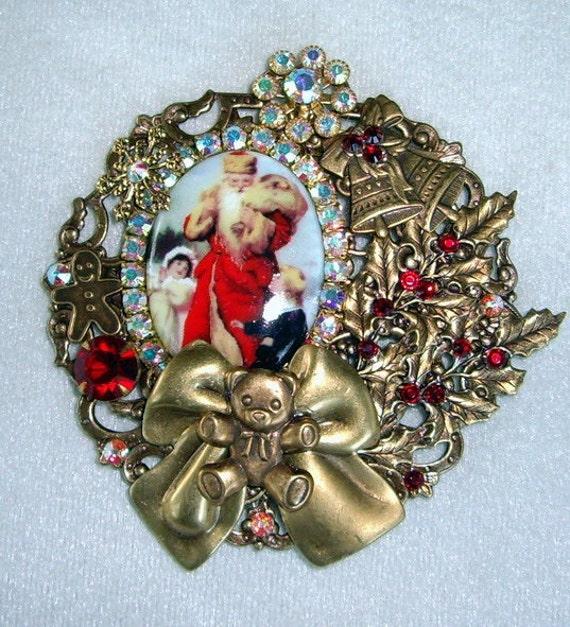 Victorian Santa & Children Cameo Pin Brooch/Pendant OOAK Signed BIG