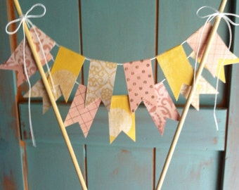 Pink lemonade Bunting Wedding Cake Topper ///READY TO SHIP///